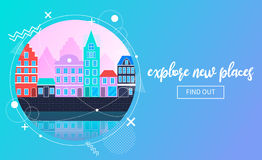 Vector travel banner with an urban landscape Stock Photo