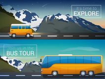 Vector travel banners set. Bus tour to Alps mountains, minibus in the wild, the company travelers Royalty Free Stock Photo
