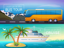 Vector travel banners set. Bus tour to Alps mountains, ocean sea Stock Images