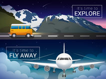 Vector travel banners set. Passenger airplane in the clouds., Alps mountains, minibus in the wild Royalty Free Stock Images