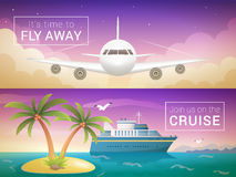 Vector travel banners set. Passenger airplane in the clouds Stock Image