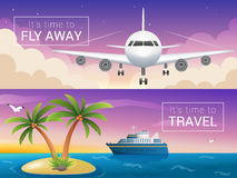 Vector travel banners set. Passenger airplane in the clouds. Stock Image