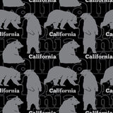 Vector Travel California Bears Seamless Pattern with gray bears sitting, standing up and walking on black background Stock Images