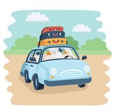 Vector Travel Car - Back view - Visible interior Version. Vector cartoon illustration of Travel Car parking in the countryside. baggage for family trip. Luggage Royalty Free Stock Images