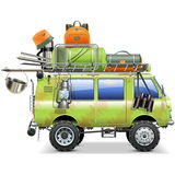 Vector Travel Car with Camping Accessories Royalty Free Stock Photos