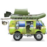 Vector Travel Car with Fishing Accessories Royalty Free Stock Photos
