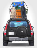 Vector Travel Car - Side - Front - Back view. Vector illustration of travel black Car - Suv type with spare tire on trunk and pile of luggage on the roof Stock Photography
