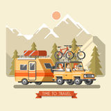Vector travel car with trailer, top luggage carrier and bicycles. Mountain bikes and cyclists Royalty Free Stock Photos