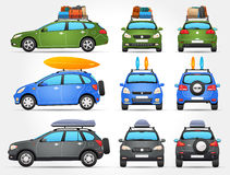 Vector Travel Cars - Side - Front - Back view Royalty Free Stock Photo
