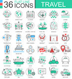 Vector Travel color flat line outline icons for apps and web design. travelling adventures icons. Vector Travel color flat line outline icons for apps and web Royalty Free Stock Photos