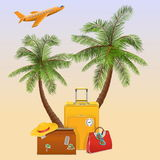 Vector Travel Concept with Palm Stock Photos