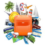 Vector Travel Concept with Rolling Bag Stock Photos