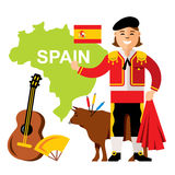 Vector Travel Concept Spain. Flat style colorful Cartoon illustration.