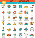 Vector travel flat line icon set. Modern elegant style design  for web. Royalty Free Stock Photos