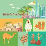 Vector travel template of United Arab Emirates. UAE flyer with modern buildings and mosque in light style. Royalty Free Stock Photo