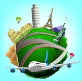 Vector Travel Green Planet with Plane and World's Famous Landmarks Royalty Free Stock Photo