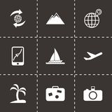 Vector travel icon set. On black background Stock Image
