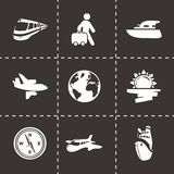 Vector travel icon set. On black background Stock Photo