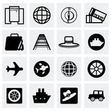 Vector Travel icon set. On grey background Royalty Free Stock Images