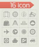 Vector Travel icon set. On grey background Stock Photos