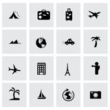 Vector travel icon set. On grey background Royalty Free Stock Photos