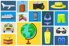 Vector travel icons set. Color travel icons set. Luggage, globe and transport. Flat vector illustration Stock Photography