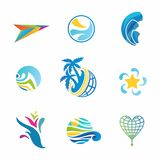 Vector travel icons set. Colorful singns for travel business corporate identity designs Stock Photography