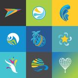 Vector travel icons set. Colorful singns for travel business corporate identity designs Stock Photo