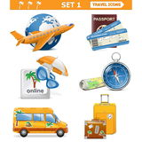 Vector travel icons set 1 Stock Photo