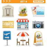 Vector travel icons set 8 Royalty Free Stock Photo