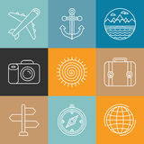 Vector travel logos and icons in outline style. Holiday and vacation signs Vector Illustration