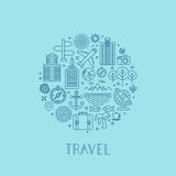 Vector travel logos and icons in outline style Stock Photography