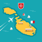Vector travel map of Malta Royalty Free Stock Images
