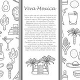 Vector travel mexican concept with hand drawn Royalty Free Stock Photography
