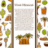 Vector travel mexican concept with hand drawn Royalty Free Stock Image