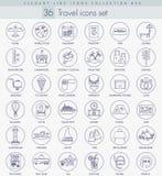 Vector Travel outline icon set. Elegant thin line style design. Stock Photography