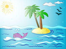 The vector travel post card with best summer beach and island for tourism company. royalty free illustration