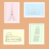 Vector travel postage stamps Stock Photos