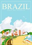 Vector travel poster of Brazil with colorful modern design, brazilian landscape and monuments. Stock Image