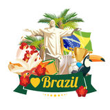 Vector travel poster of Brazil. Colorful poster with brazilian symbols Stock Photography