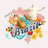 Vector travel poster of Brazil. Colorful Poster in retro style with brazilian symbols. Vector travel poster of Brazil, brazilian landscape and monuments. Rio de Royalty Free Stock Photos