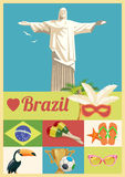 Vector travel poster of Brazil. Hipster style Stock Photos