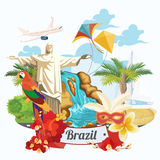 Vector travel poster of Brazil. Modern poster with brazilian symbols Stock Image