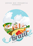 Vector travel poster of Brazil. Order and Progress Stock Images