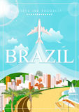 Vector travel poster of Brazil. Poster with airplane Royalty Free Stock Photos
