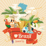 Vector travel poster of Brazil. Poster in retro style with brazilian symbols. Vector travel poster of Brazil, brazilian landscape and monuments. Rio de Janeiro Stock Images