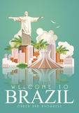Vector travel poster of Brazil. Rio de Janeiro advertising card with great statue of Jesus. Royalty Free Stock Photos