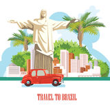 Vector travel poster of Brazil. Travel poster with brazilian symbols Stock Photos