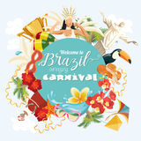 Vector travel poster of Brazil. Welcome to Brazil amazing Carnival. Vector travel poster of Brazil, brazilian landscape and monuments. Rio de Janeiro advertising Stock Image