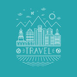 Vector travel poster design template Stock Photography